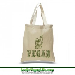 Hand Point Vegan Canvas Tote Bag - 100% Cotton
